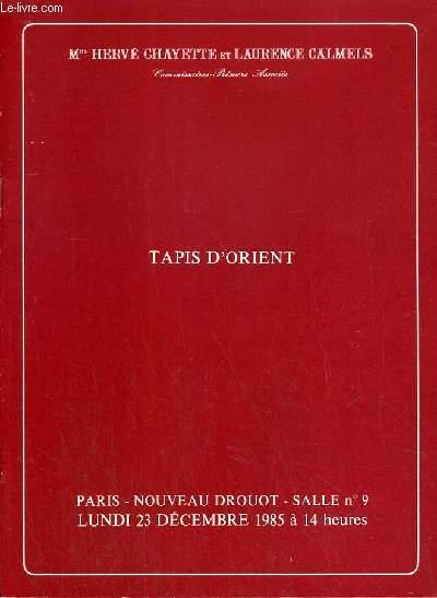 CATALOGUE DE VENTE AUX ENCHERES - NOUVEAU DROUOT - TAPIS D'ORIENT - SALLE 9 - 23 DECEMBRE 1985.