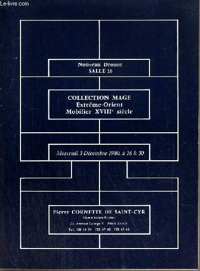 CATALOGUE DE VENTE AUX ENCHERES - NOUVEAU DROUOT - COLLECTION MAGE - EXTREME-ORIENT - MOBILIER XVIIIe SIECLE - SALLE 16 - 3 DECEMBRE 1980.