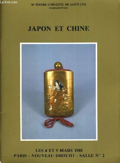CATALOGUE DE VENTE AUX ENCHERES - NOUVEAU DROUOT - JAPON ET CHINE - SALLE 2 - 5 MARS 1985.