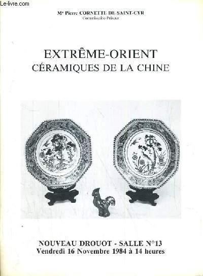CATALOGUE DE VENTE AUX ENCHERES - NOUVEAU DROUOT - EXTREME-ORIENT - CERAMIQUE DE LA CHINE - SALLE 13 - 16 NOVEMBRE 1984.