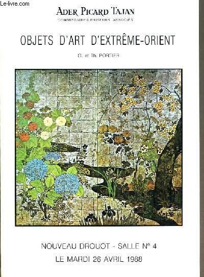 CATALOGUE DE VENTE AUX ENCHERES - NOUVEAU DROUOT -  OBJETS D'ART D'EXTREME-ORIENT - SALLE 4 -  26 AVRIL 1988.