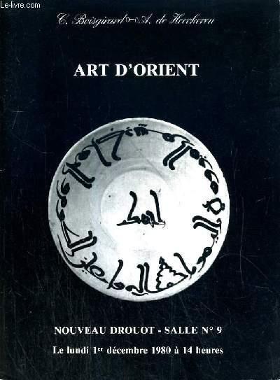 CATALOGUE DE VENTE AUX ENCHERES - NOUVEAU DROUOT - ART D' ORIENT -  SALLE 9 - 1er DECEMBRE 1980.