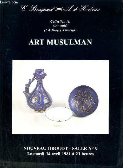 CATALOGUE DE VENTE AUX ENCHERES - NOUVEAU DROUOT - ART MUSULMAN -  SALLE 9 - 15 AVRIL 1981.