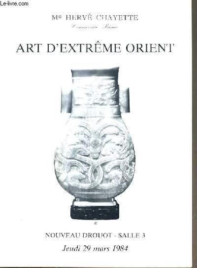 CATALOGUE DE VENTE AUX ENCHERES - NOUVEAU DROUOT - ART D'EXTREME-ORIENT -  SALLE 3 - 29 MARS 1984.
