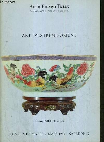 CATALOGUE DE VENTE AUX ENCHERES - NOUVEAU DROUOT - ART D'EXTREME-ORIENT - SALLE 10 -  6 et 7 MARS 1989.