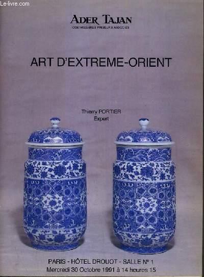 CATALOGUE DE VENTE AUX ENCHERES - HOTEL DROUOT - ART D'EXTREME-ORIENT - SALLE 1 -  30 OCTOBRE 1991.