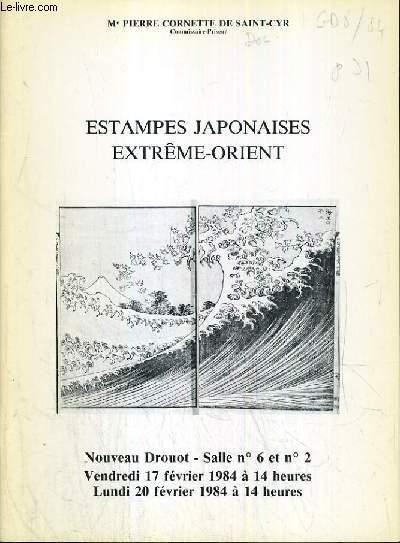 CATALOGUE DE VENTE AUX ENCHERES - NOUVEAU DROUOT - ESTAMPES JAPONAISE - EXTREME-ORIENT - SALLE 6 et 2 - 17 et 20 FEVRIER 1984.