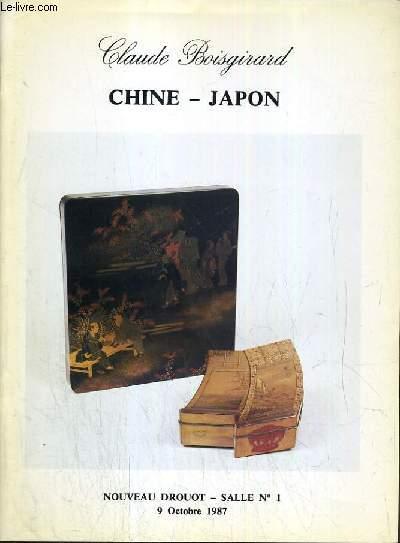 CATALOGUE DE VENTE AUX ENCHERES - NOUVEAU DROUOT - CHINE - JAPON -  SALLE 1 - 9 OCTOBRE 1987.