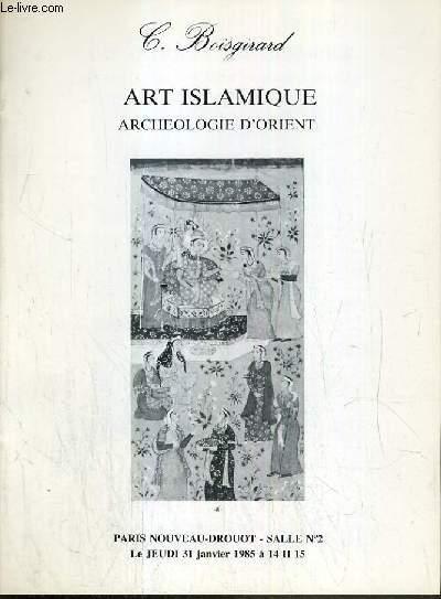 CATALOGUE DE VENTE AUX ENCHERES - NOUVEAU DROUOT - ART ISLAMIQUE - ARCHEOLOGIE D'ORIENT -  SALLE 2 - 31 JANVIER 1985.