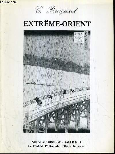 CATALOGUE DE VENTE AUX ENCHERES - NOUVEAU DROUOT - EXTREME-ORIENT -  SALLE 3 - 19 DECEMBRE 1986.