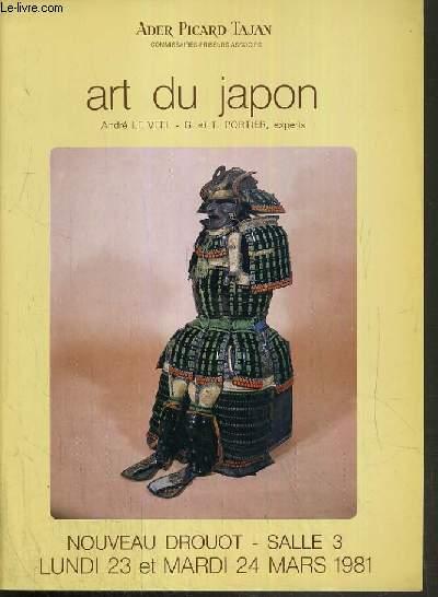 CATALOGUE DE VENTE AUX ENCHERES - NOUVEAU DROUOT - ART DU JAPON - SALLE 3 - 23 et 24 MARS 1981.