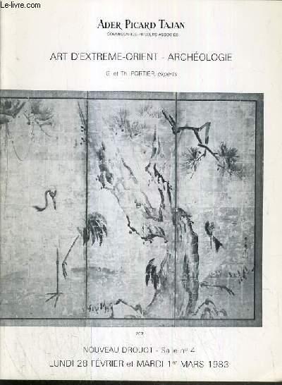 CATALOGUE DE VENTE AUX ENCHERES - NOUVEAU DROUOT - ART D'EXTREME-ORIENT - ARCHEOLOGIE - SALLE 4 - 28 FEVRIER et 1er MARS 1983.