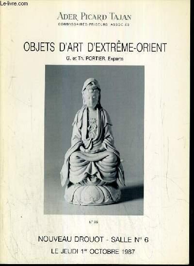 CATALOGUE DE VENTE AUX ENCHERES - NOUVEAU DROUOT - OBJETS D'ART D'EXTREME-ORIENT - SALLE 6 - 1er OCTOBRE 1987.