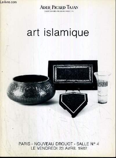 CATALOGUE DE VENTE AUX ENCHERES - NOUVEAU DROUOT - ART ISLAMIQUE - SALLE 4 - 23 AVRIL 1982.