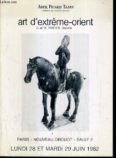 CATALOGUE DE VENTE AUX ENCHERES - NOUVEAU DROUOT - ART D'EXTREME-ORIENT - SALLE 2 - 28 et 29 JUIN 1982.