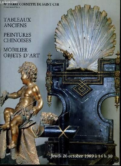 CATALOGUE DE VENTE AUX ENCHERES - HOTEL DROUOT - TABLEAUX ANCIENS - PEINTURES CHINOISES - MOBILIER OBJETS D'ART - SALLE 4 - 26 OCTOBRE 1989.