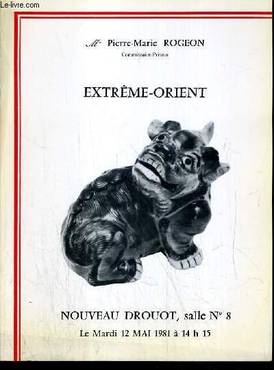 CATALOGUE DE VENTE AUX ENCHERES - NOUVEAU DROUOT - EXTREME-ORIENT - SALLE 8 - 12 MAI 1981.