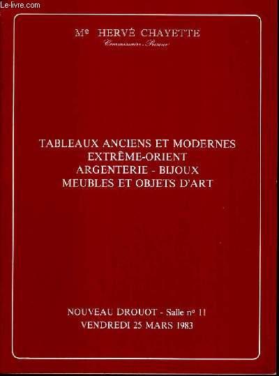 CATALOGUE DE VENTE AUX ENCHERES - NOUVEAU DROUOT - TABLEAUX ANCIENS ET MODERNES - EXTREME-ORIENT - ARGENTERIE - BIJOUX - MEUBLES ET OBJETS D'ART -  SALLE 11 - 25 MARS 1983.