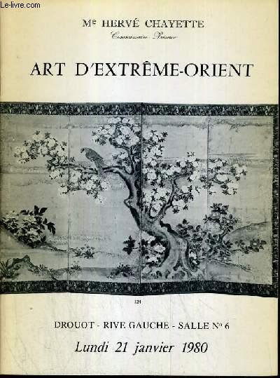 CATALOGUE DE VENTE AUX ENCHERES - DROUOT RIVE GAUCHE - ART D'EXTREME-ORIENT -  SALLE 6 - 21 JANVIER 1980.