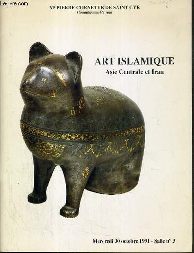 CATALOGUE DE VENTE AUX ENCHERES - HOTEL DROUOT - ART ISLAMIQUE - ASIE CENTRALE ET IRAN - SALLE 3 - 30 OCTOBRE 1991.