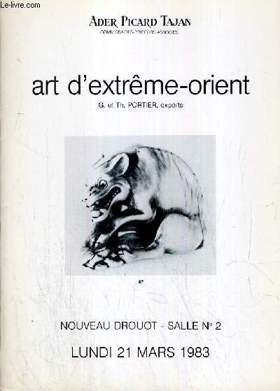 LOT DE 2 CATALOGUES DE VENTE AUX ENCHERES - NOUVEAU DROUOT - ART D'EXTREME-ORIENT - IVOIRES DE LA CHINE ET DU JAPON - TSUBA - 21 MARS - 19 DECEMBRE 1983 - 4 photos disponibles.