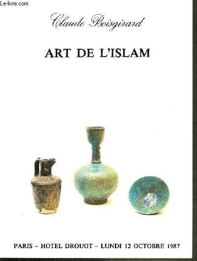 CATALOGUE DE VENTE AUX ENCHERES - HOTEL DROUOT - ART DE L'ISLAM - BRONZES AFGHANISTAN ET D'IRAN - SALLE 1 - 12 OCTOBRE 1987.