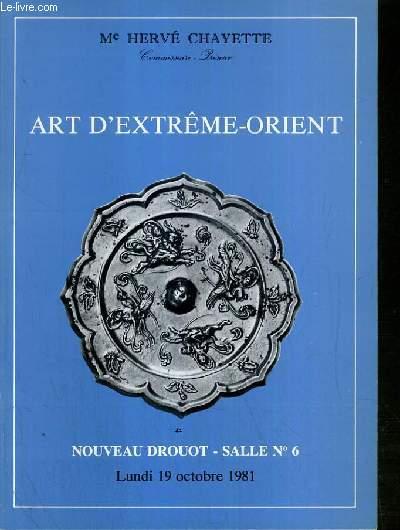 CATALOGUE DE VENTE AUX ENCHERES - NOUVEAU DROUOT - ART D'EXTREME-ORIENT - MOBILIER CHINOIS -  SALLE 6 - 19 OCTOBRE 1981.