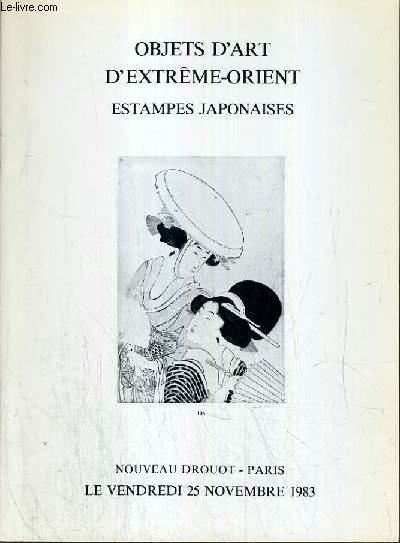 CATALOGUE DE VENTE AUX ENCHERES - NOUVEAU DROUOT -  OBJETS D'ART D'EXTREME-ORIENT - ESTAMPES JAPONAISES  - SALLE 3 - 25 NOVEMBRE 1983.