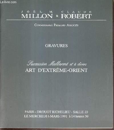 CATALOGUE DE VENTE AUX ENCHERES - DROUOT RICHELIEU -  GRAVURES - SUCCESSION MALLARME ET A DIVERS ART D'EXTREME-ORIENT - SALLE 10 - 6 MARS 1991.