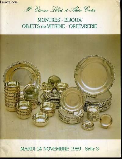 CATALOGUE DE VENTE AU ENCHERE - DROUOT RICHELIEU - COLLECTION DE MONTRES - BEAUX BIJOUX - SALLE 3 - 14 NOVEMBRE 1989.