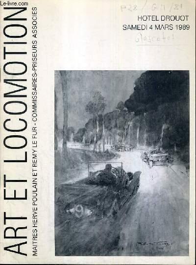 CATALOGUE DE VENTE AUX ENCHERES - HOTEL DROUOT - ART ET LOCOMOTION - COLLECTION DE MASCOTTES DE RADIATEUR - SALLE 12 - 4 MARS 1989.