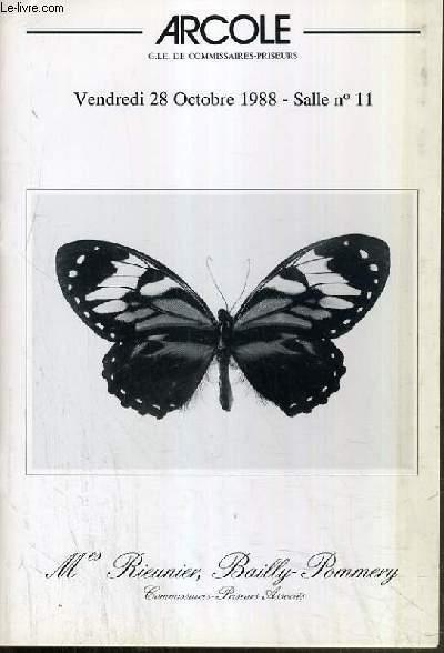 CATALOGUE DE VENTE AUX ENCHERES - DROUOT RICHELIEU - ENTOMOLOGIE - LEPIDOPTERES et COLEOPTERES - SALLE 11 - 28 OCOTBRE 1988.