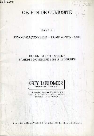 CATALOGUE DE VENTE AUX ENCHERES - HOTEL  DROUOT - OBJETS DE CURIOSITE - CANNES - FRANC-MACONNERIE - CAMPAGNONNAGE - SALLE 8 - 5 NOVEMBRE 1988.
