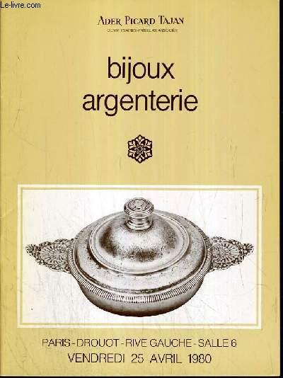 CATALOGUES DE VENTE AUX ENCHERES - DROUOT RIVE GAUCHE - BIJOUX - ARGENTERIE -  25 AVRIL 1980.