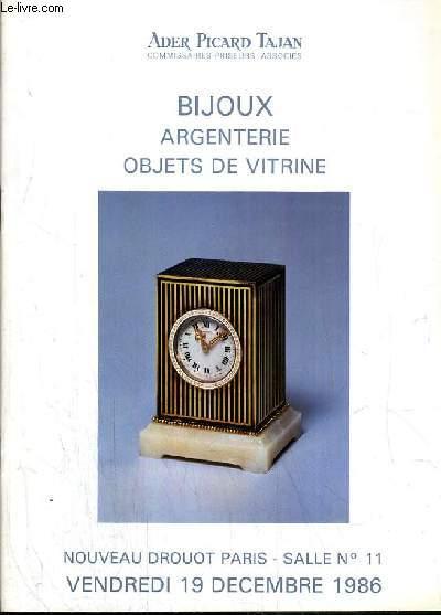 CATALOGUES DE VENTE AUX ENCHERES - NOUVEAU DROUOT - BIJOUX - ARGENTERIE - OBJETS DE VITRINE - SALLE 11 - 19 DECEMBRE 1986.