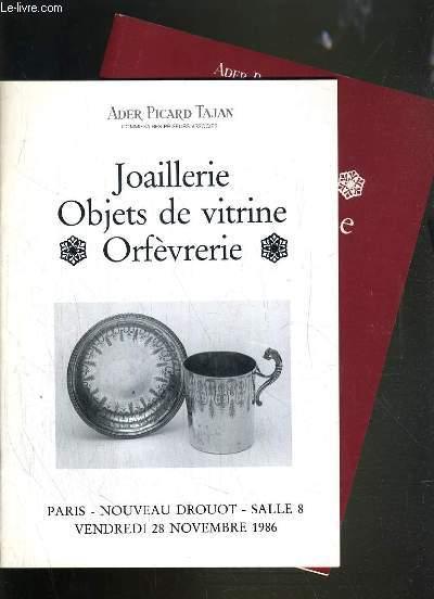 LOT DE 2 CATALOGUES DE VENTE AUX ENCHERES - NOUVEAU DROUOT - JOAILLERIE - OBJETS DE VITRINE - ORFEVRERIE - 28 NOVEMBRE et 2 DECEMBRE 1986.