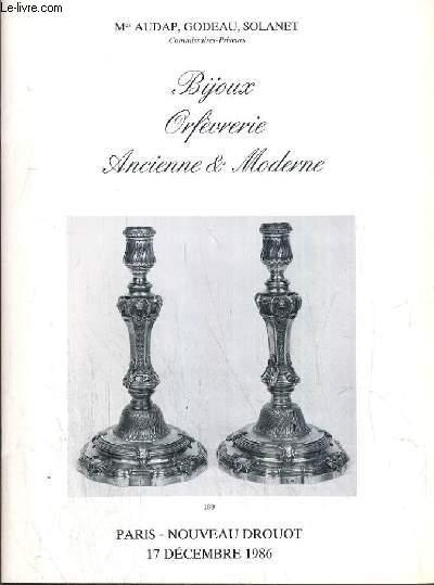 CATALOGUE DE VENTE AUX ENCHERES - NOUVEAU DROUOT -  BIJOUX - ORFEVRERIE - ANCIENNE & MODERNE - SALLE 2 - 17 DECEMBRE 1986.