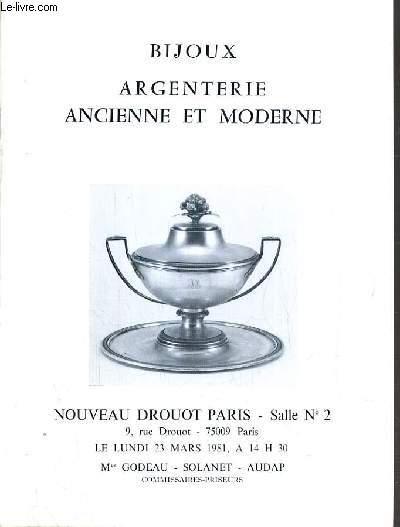 CATALOGUE DE VENTE AUX ENCHERES - NOUVEAU DROUOT -  BIJOUX - ARGENTERIE ANCIENNE & MODERNE - SALLE 2 - 23 MARS 1981.