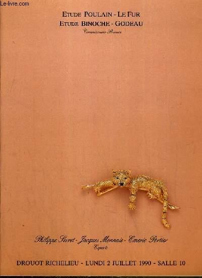 CATALOGUE DE VENTE AUX ENCHERES - DROUOT RICHELIEU - BIJOUX - COLLECTION DE MONTRES-BRACELET - ORFEVRERIE ANCIENNE - SALLE 10 - 2 JUILLET 1990.