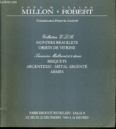 CATALOGUE DE VENTE AUX ENCHERES - DROUOT RICHELIEU - COLLECTION G.L.B. - MONTRES-BRACELETS - OBJETS DE VITRINE - SUCCESSION MALLARME - BRIQUETS - ARMES - SALLE 8 - 20 DECEMBRE 1990.