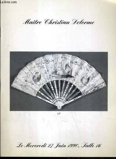 CATALOGUE DE VENTE AUX ENCHERES - DROUOT RICHELIEU - ART D'EXTREME-ORIENT - OBJETS DE VITRINE XIXe SIECLE - COLLECTION DE PIECE PERLEES - SALLE 16 - 27 JUIN 1990.