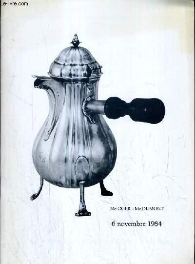 CATALOGUE DE VENTE AUX ENCHERES - NOUVEAU DROUOT  - BIJOUX  - OBJETS DE VITRINE - ARGENTERIE MODERNE - 6 NOVEMBRE 1984.