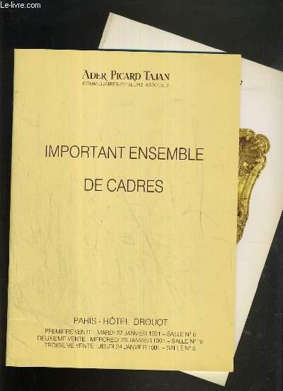 LOT DE 2 CATALOGUES DE VENTE AUX ENCHERES - HOTEL DROUOT - IMPORTANT ENSEMBLE DE CADRES - 22, 23 et 24 JANVIER et 29 NOVEMBRE 1991.