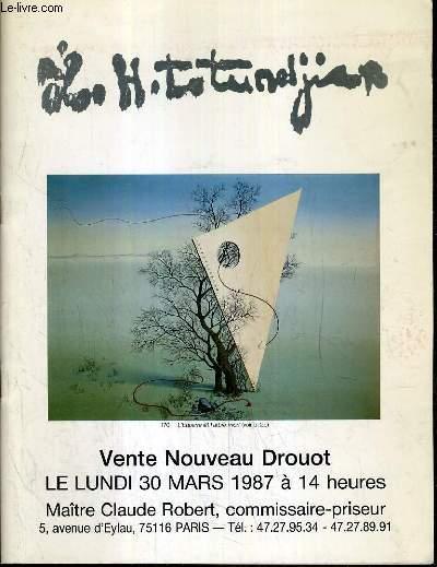 CATALOGUE DE VENTE AUX ENCHERES - NOUVEAU DROUOT - TUTUNDIAN (1906-1968) - DESSINS - AQUARELLES - PEINTURES - SALLE 14 - 30 MARS 1987.