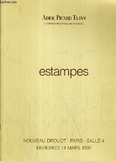 CATALOGUE DE VENTE AUX ENCHERES - NOUVEAU DROUOT - ESTAMPES - SALLE 4 - 14 MARS 1990.