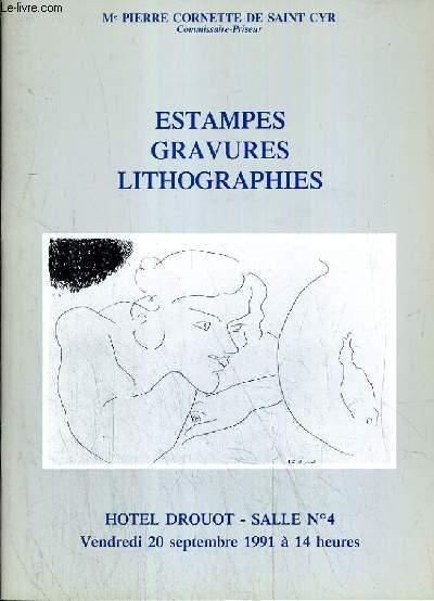 CATALOGUE DE VENTE AUX ENCHERES - HOTEL DROUOT - ESTAMPES - GRAVURES - LITHOGRAPHIES - SALLE 4 - 20 SEPTEMBRE 1991.