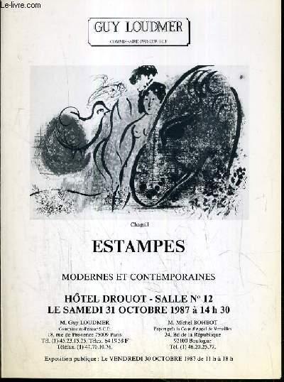 CATALOGUE DE VENTE AUX ENCHERES - HOTEL DROUOT - ESTAMPES MODERNES ET CONTEMPORAINES - SALLE 12 - 31 OCTOBRE 1987.