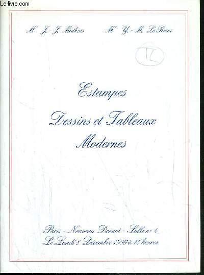CATALOGUE DE VENTE AUX ENCHERES - NOUVEAU DROUOT - ESTAMPES - DESSINS ET TABLEAUX MODERNES - SALLE 4 - 8 DECEMBRE 1986.