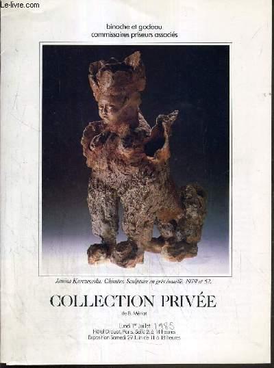 CATALOGUE DE VENTE AUX ENCHERES - HOTEL DROUOT - COLLECTION PRIVEE DE B. MERIAT - SALLE 2 - 1er JUILLET 1985.