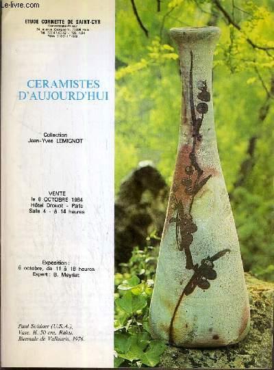 CATALOGUE DE VENTE AUX ENCHERES - HOTEL DROUOT - CERAMISTES D'AUJOURD'HUI - SALLE 4 - 8 OCTOBRE 1984.